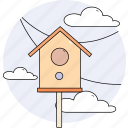 bird feeder, cloudy, season, sky, spring icon