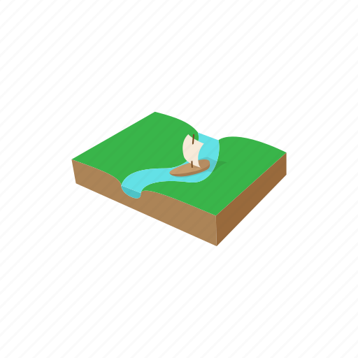 boat, cartoon, float, floating, sign, stream, water icon
