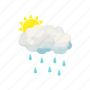 cartoon, cloud, rain, season, sign, summer, sun icon
