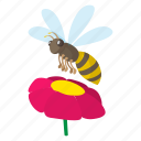 animal, bee, cartoon, flower, honey, insect, sign icon