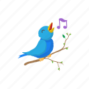 animal, bird, cartoon, cute, note, sign, singing icon