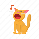 cartoon, cat, character, cute, funny, sign, singing icon