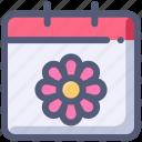 calendar, date, flower, spring icon