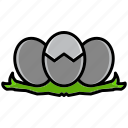 egg, flourish, hatch, shell, spring, sunshine, weather icon