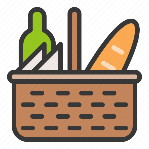basket, beverage, bread, food, picnic, picnic basket, spring icon