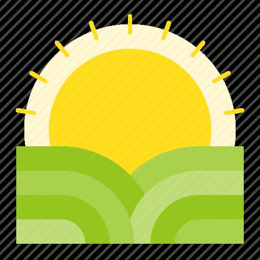 dawn, nature, spring, sun, sunshine, view icon