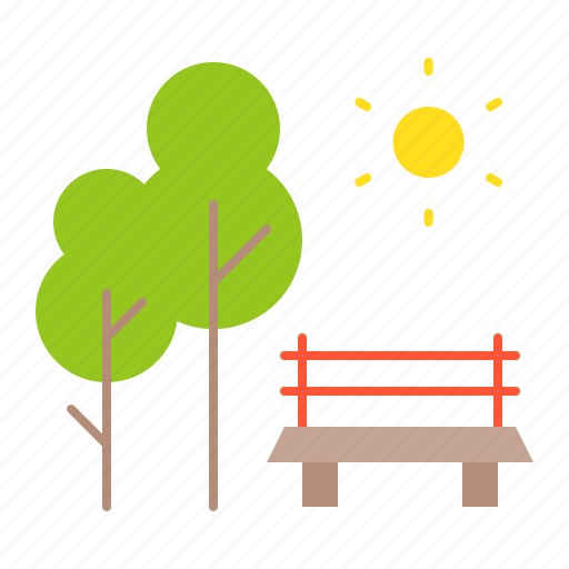 chair, nature, park, spring, sun, tree icon