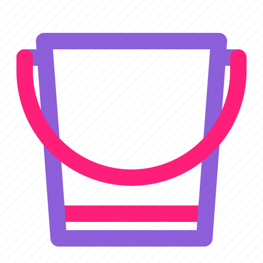 bucket, dual, gardening, line, multiply, spring, tools icon
