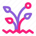 dual, flower, gardening, line, multiply, spring, tools icon