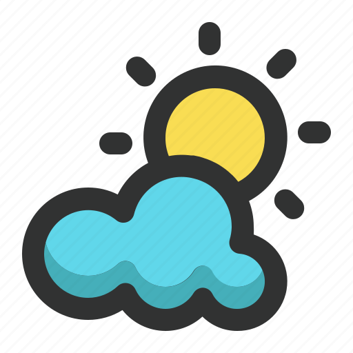 cloudy, spring, sun, sunny, weather icon