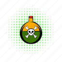 caution, comics, cork, experiment, poison, skull, toxic icon