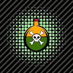 caution, comics, cork, experiment, poison, skull, toxic icon