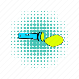 comics, flashlight, illumination, isoled, led, light, torch icon