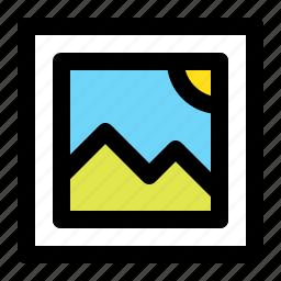 image, mountain, nature, picture, sky, square, sun icon