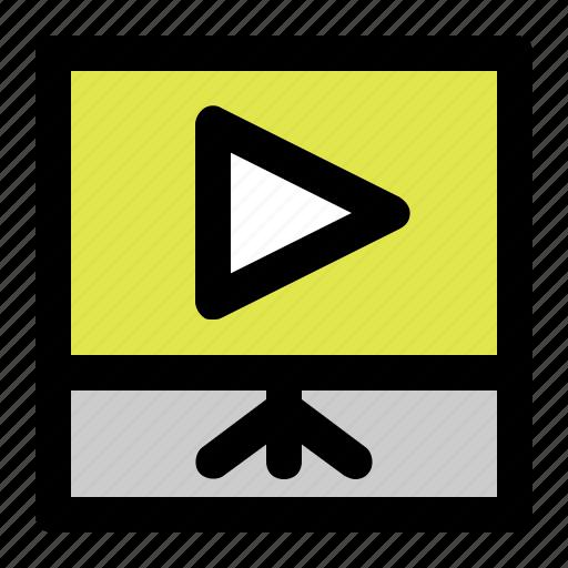 film, presentation, slide, square icon