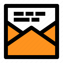 data, letter, mail, open, square, text, word icon
