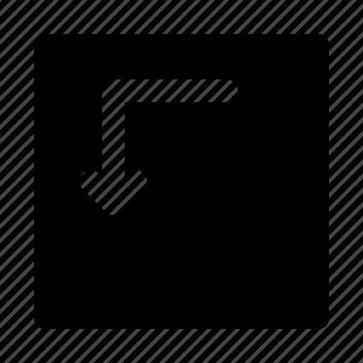 arrow, arrows, corner, direction, left, move icon