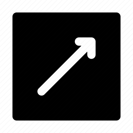 arrow, diagonal, direction, move, right, thin, up icon