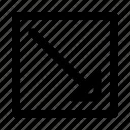 arrow, arrows, diagonal, direction, down, move, right icon