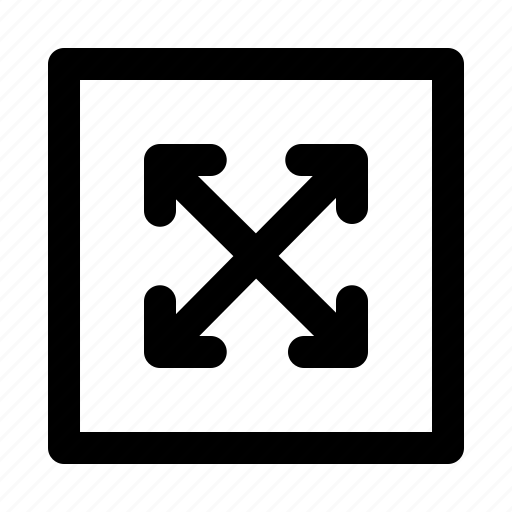 arrow, arrows, direction, fullscreen, move, scale, thin icon