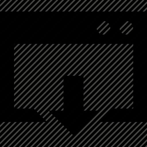 arrow, direction, down, window icon