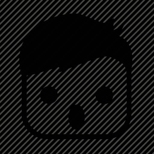 boy, emoji, face, square, wow icon