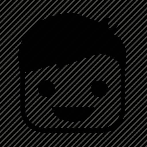 emoji, face, happy, square icon