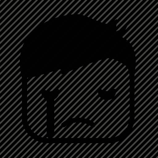 boy, cry, emoji, face, square icon