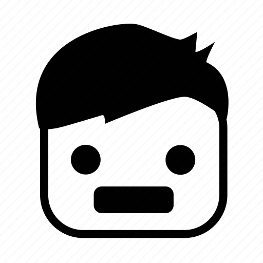 angry, boy, emoji, face, square icon