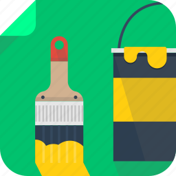 art, brush, bucket, design, drawing, paint, painting, yellow icon