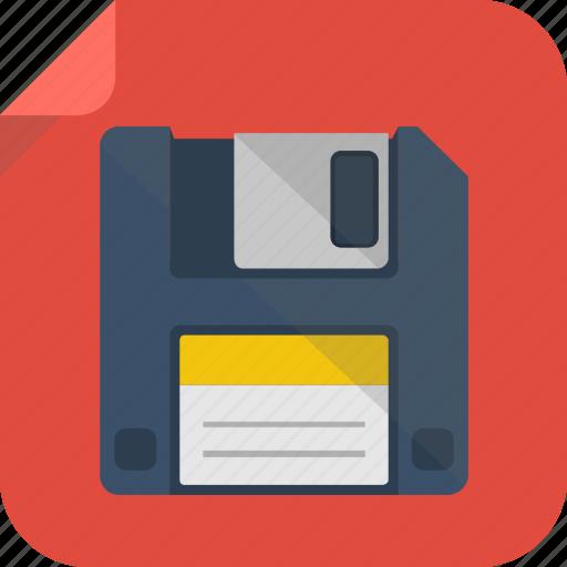 diskette, floppy, floppy disk, save icon