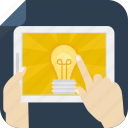 hands, idea, ipad, light bulb, screen, tablet, tactile, touch icon