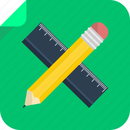 measure, pen, pencil, ruler, school, study, work, write icon
