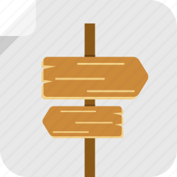 direction, location, lost, sign, way, wooden sign icon