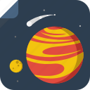 moon, night, planet, space, stars icon