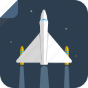 flight, fly, night, plane, space, spaceship, stars, transport icon