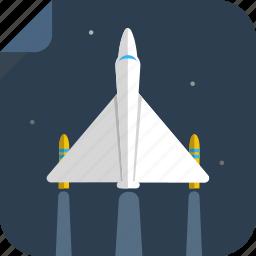 flight, fly, night, plane, space, spaceship, stars, transport icon