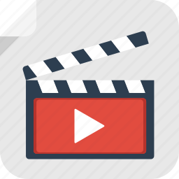 clapper, clapperboard, film, movie, play, record, watch, youtube icon