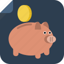 bank, coin, guardar, money, pig, piggy bank, rich, save, savings icon
