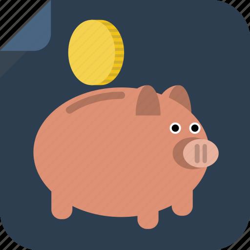 bank, coin, money, pig, piggy bank, rich, save, savings icon