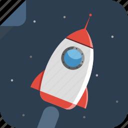 alien, night, rocket, space, spaceman, spaceship, stats, transport icon