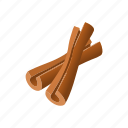 aromatic, brown, cartoon, cinnamon, food, stick, sticks icon