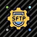 protocol, sftp, label, ssh, data, security icon
