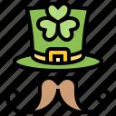 beard, clover, hat, lucky, patrick