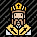 cleric, monk, pastor, priest, saint