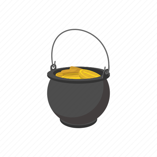 cartoon, coin, day, gold, holiday, pot, wealth icon
