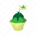 cake, cartoon, cream, cupcake, dessert, food, green icon