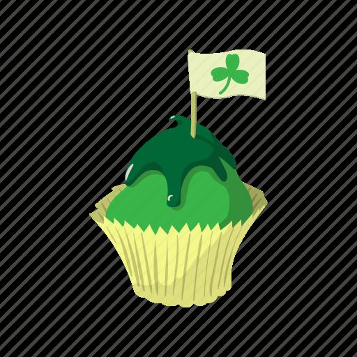 cake, cartoon, cream, cupcake, dessert, food, green icon