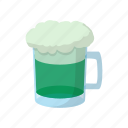 beer, cartoon, day, glass, green, mug, patrick icon