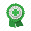 cartoon, clover, four, green, irish, luck, ribbon icon